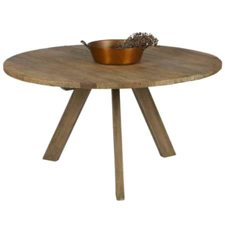Een ronde vorm geeft een stoer warm gevoel en brengt een ruimtelijk effect in de eethoek of eetkamer. Deze eettafel Tondo van BePureHome heeft drie grote stevige poten, is gemaakt van oud iepenhout en heeft een karakteristieke doorleefde uitstraling.
