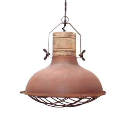 Hanglamp Grid van LABEL51, uitgevoerd in de kleur rust, is een robuuste lamp met stoere accenten. De metalen korf en grove bouten zorgen voor een industrieel karakter.