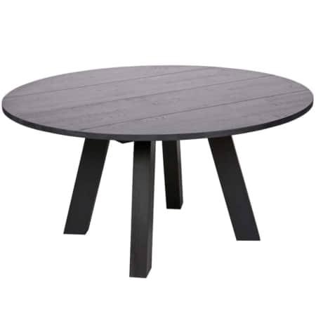 De WOOOD eettafel Rhonda XL (Øxh) 150x76 cm, blacknight (zwart gelakt) is stoer, robuust en heeft een trendy uitstraling. Deze 150 cm ronde tafel heeft 4stevige blokpoten van 11,5 centimeter en een 27 millimeter dik blad. Door toepassing van metalen hoekplaten is deze tafel duurzaam in gebruik.