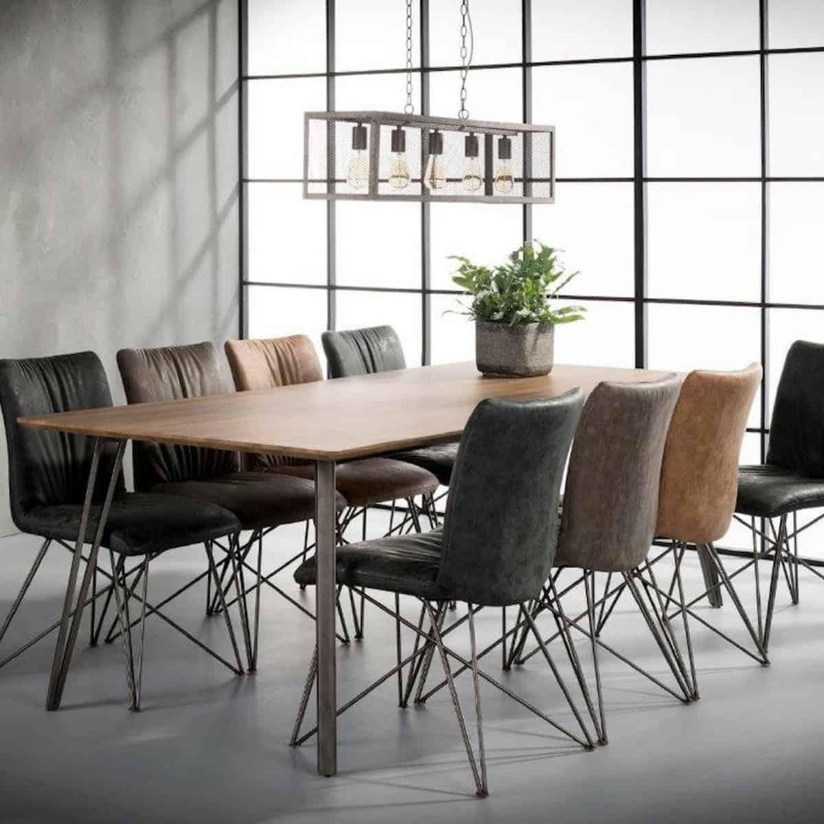 Eettafel 240 Cm.Industriele Eettafel Zes10 Collectie V Poot Tafel Vintage Staal