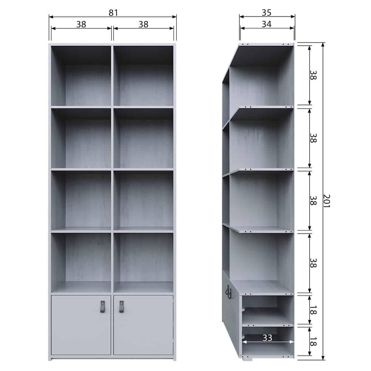 vtwonen Boekenkast grenenhout betongrijs - Hal ZES10