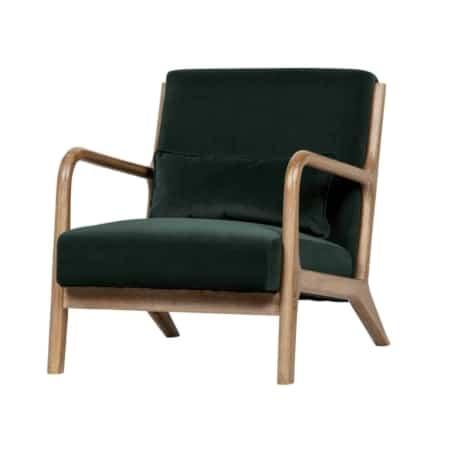 Fauteuil Mark van het interieurmerk WOOOD is een prachtige slanke fauteuil die bijzonder goed zal staan in elke stijl interieur. De armleuningen, poten en het frame van deze comfortabele fauteuil zijn gemaakt van rubberhout. Fauteuil Mark is gestoffeerd met een luxe velvet stof in de kleur flesgroen. De fauteuil is ook verkrijgbaar in de kleur antraciet. De stof 100% polyester velvet met fluweel uiterlijk voelt zacht aan, is van een zware kwaliteit en is geschikt voor intensief gebruik. De zitdiepte is 59 cm, de zitbreedte 58 cm, de afstand van de zitting tot de vloer is 39 cm. De armleuning is 55 cm hoog en de dikte van de zitting bedraagt 16 cm.