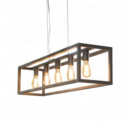 Deze hanglamp uit de ZES10 collectie is voorzien van een rechthoekig metalen frame met een zilveren finish. De 5 lichtbronnen hangen mooi in één lijn in het frame, waardoor er voldoende licht boven de tafel en in de ruimte is.