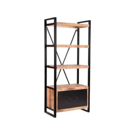 Boekenkast Brussels van LABEL51 is met zijn ruwe mango houten oppervlaktes, gecombineerd met het zwart metalen frame en functionele lade een stoere en industriële kast. Boekenkast Brussels is een solide en speelse boekenkast die een fijn sfeertje geeft in een huis- of werkkamer.