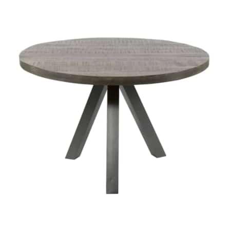 Deze ronde tafel Seattle uit de Zes10 collectie heeft een diameter van 140 centimeter. De tafel is vervaardigd uit massief mangohout. De geschuurde RVS-poten zijn trapezevormig en hebben een dikte van 10 centimeter. Dit zorgt voor een stoere vintage-look.