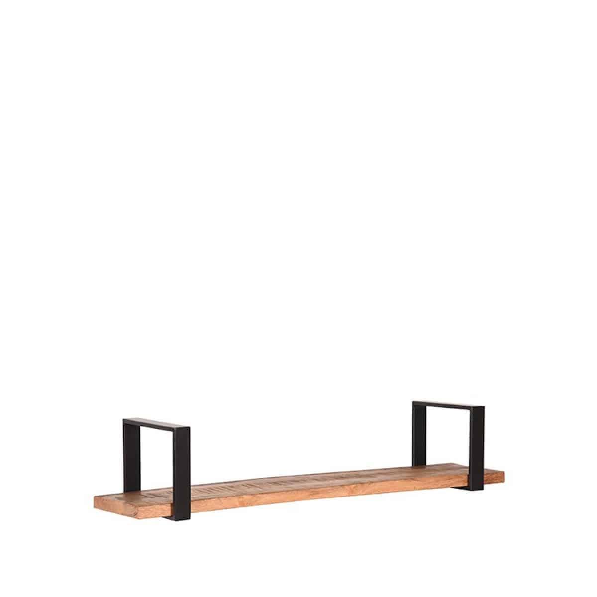 Wandplank Zwart Metaal.Industriele Wandplank Label51 Slam Mango Hout Metaal Zwart