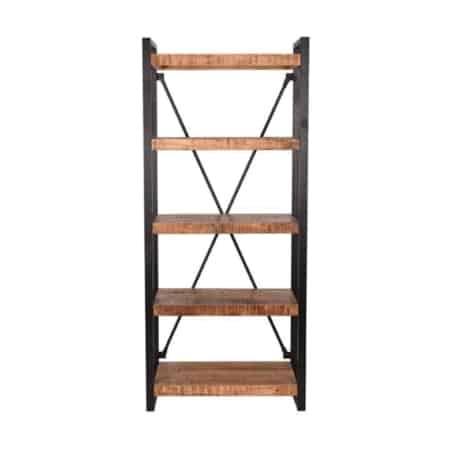 Boekenkast Brussels van LABEL51 is met zijn ruwe mango houten oppervlaktes, gecombineerd met het zwart metalen frame een stoere en industriële kast. Boekenkast Brussels is een solide en speelse boekenkast die een fijn sfeertje geeft in een huis- of werkkamer.
