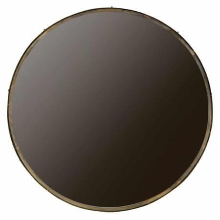WOOOD wandspiegel Lauren XXL met een antique brass finish metalen rand van 4 cm diepte heeft een doorsnede van 100 cm.