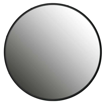 WOOOD wandspiegel Lauren XXL met een zwart gelakte metalen rand van 4 cm diepte heeft een doorsnede van 100 cm.
