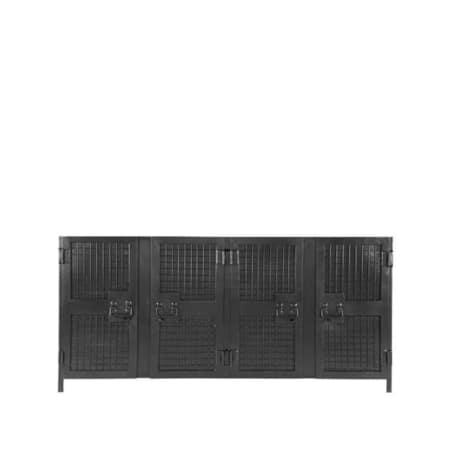 Dressoir Gate van LABEL51 is een ontzettend industrieel en robuust meubel gemaakt van puur en onbewerkt metaal, uitgevoerd in de kleur zwart.