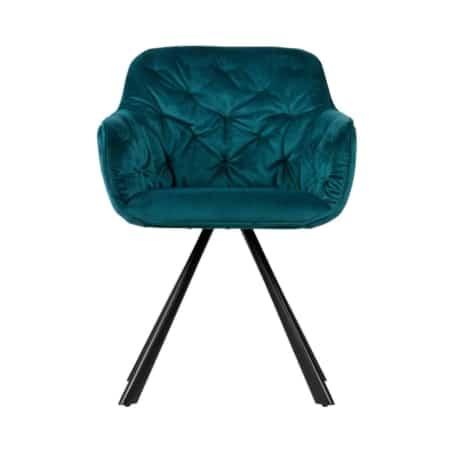 WOOOD Elaine eetkamerstoel is een stijlvolle eetkamerstoel met een zitting bekleed met een mooie velvet stof (100% polyester).