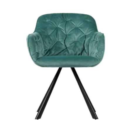 WOOOD Elaine eetkamerstoel is een stijlvolle eetkamerstoel met een zitting bekleed met een mooie velvet stof (100% polyester)