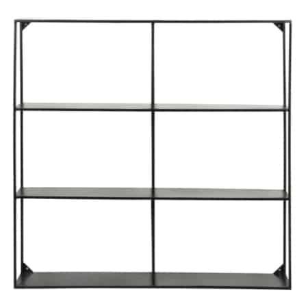 Met de zwart gelakte metalen vakkenkast Meert heb je een trendy en eigentijds wandrekje in huis.