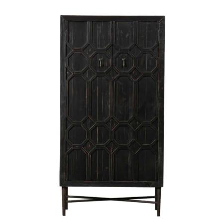 Deze prachtige 2-deurs opbergkast Bequest van het merk BePureHome is een echte blikvanger! Kast Bequest is gemaakt van oud grenenhout met een antiek zwarte afwerking, waardoor het een geleefde look krijgt. De deuren zijn bewerkt met een oosters patroon in hout, wat de kast nog meer karakter geeft.
