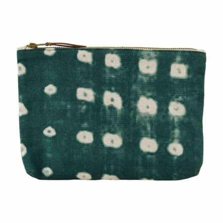 Make-up tasje Dots groen is een stevige katoenen make-up tas van Housedoctor.
