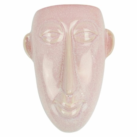 Muur plantenpot gezicht roze keramiek.