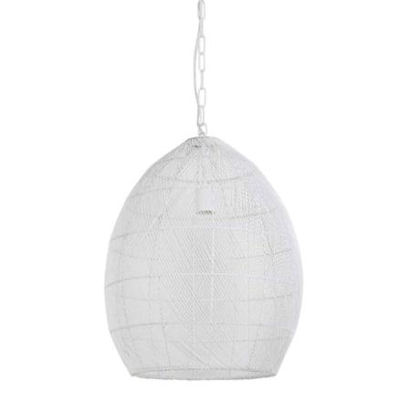 De Meya hanglamp is gemaakt van metaaldraad, is van de binnenkant en de buitenkant wit gespoten.