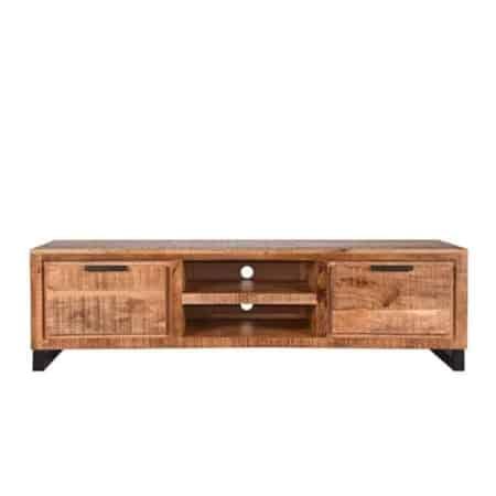 Tv-meubel Glasgow van LABEL51 is met zijn ruwe mango houten oppervlaktes