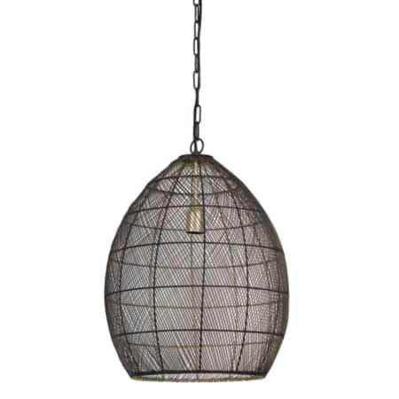 De Meya hanglamp is gemaakt van metaaldraad, is van de binnenkant zwart en de buitenkant goud gespoten.