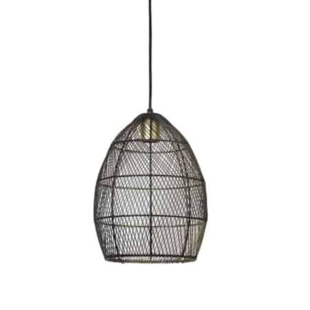 De Meya hanglamp is gemaakt van metaaldraad, is van de binnenkant goud en de buitenkant zwart gespoten.