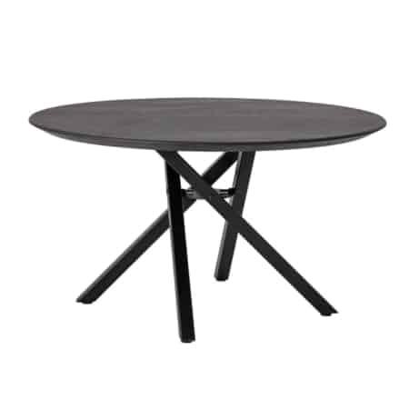 Deze mooie ronde salontafel van het Scandinavische interieurmerk Bloomingville heeft een zwart eikenhouten blad van 3cm dik en een zwart metalen onderstel.