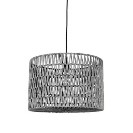 Hanglamp Stripe van LABEL51 bestaat uit een zwarte katoenen pendel waar een prachtige cilindervormige kap van grijs geweven katoen aan hangt.