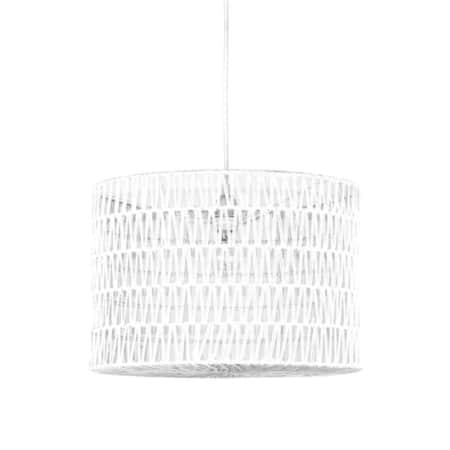 Hanglamp Stripe van LABEL51 bestaat uit een witte katoenen pendel waar een prachtige cilindervormige kap van wit geweven katoen aan hangt.