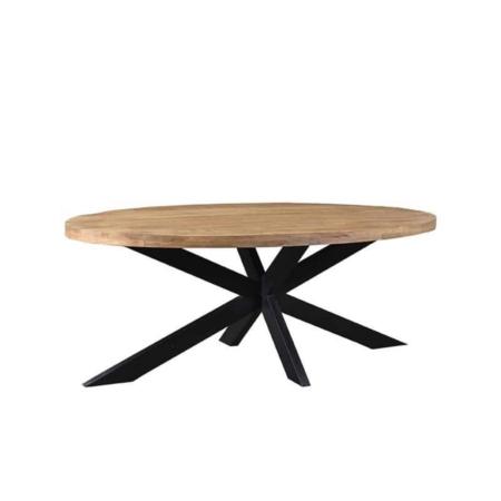 Eettafel Zip van LABEL51 is met zijn ruwe mango houten oppervlaktes, gecombineerd met een zwart metalen Matrix poot een stoere en industriële tafel.