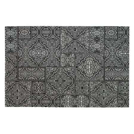 Dit Renna vloerkleed uit de collectie van het Nederlandse merk WOOOD Exclusive is modern en voorzien van een grafische zwart/wit print. Een echte eye-catcher in iedere ruimte. Renna is gemaakt van een zwart/witte stof bestaande uit 80% polyeser en 20% katoen.