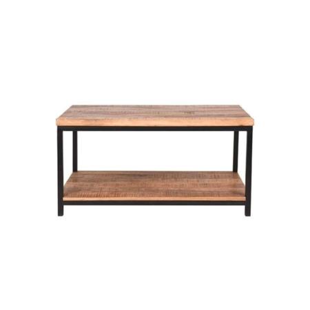 Deze stoere robuuste tafel 'industrieel' van LABEL51 heeft een vintage zwart onderstel.