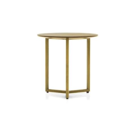 De SMAQQ serie heeft strak, retro en glamour allemaal gemixt. De houten bijzettafel rust op een metalen frame met een gouden finish. Het tafelblad is mooi afgerond, hierdoor ziet de tafel er niet alleen retro uit maar voelt ook nog eens retro aan.