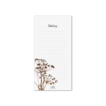 Mooi notitieblok met afbeelding droogbloemen.