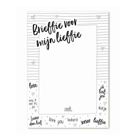 Met dit leuke notitieblok laat je overal een brieffie achter voor je lieffie!