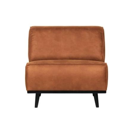 Een fauteuil als deze staat als een duidelijk element in huis. Deze Statement fauteuil uit de collectie van het Nederlandse BePureHome is puur en stoer. De fauteuil is bekleed met een cognac gekleurde recycle leer stof. Deze stof benadrukt het stoere karakter van Statement. Het design van Statement is basic, maar valt door de omvang natuurlijk wel op. De Statement fauteuil is beschikbaar in meerdere varianten, stoffen en kleuren.