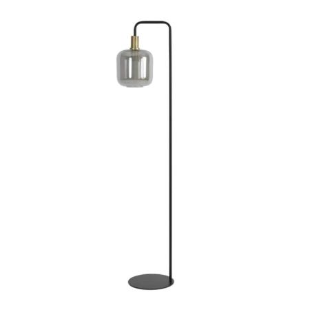 ZES10 Collectie Lekar vloerlamp glas antiek brons/ smoke