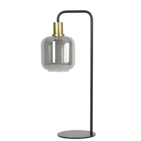 ZES10 collectie Lekar tafellamp antiek brons smoke glas