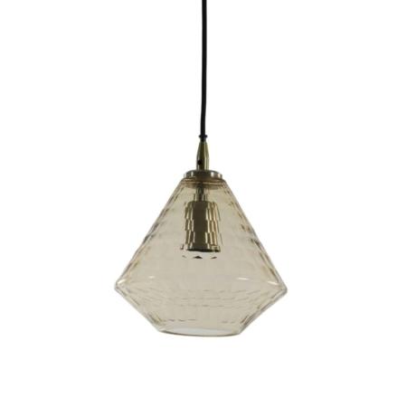 ZES10 Collectie Delilu hanglamp glas antique brons Ø20cm