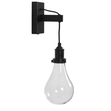 ZES10 Collectie Fieke wandlamp glas mat zwart 16x13x45cm
