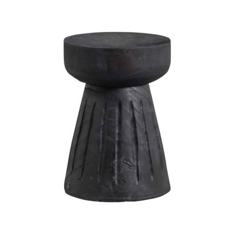 WOOOD Borre kruk hout zwart Ø28x40CM