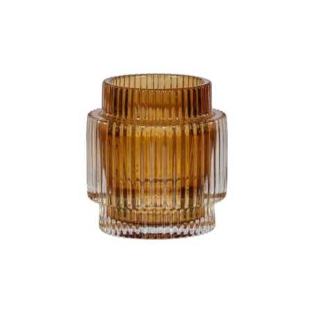BePureHome Wave waxinelichthouder syrup glas 10x9cm