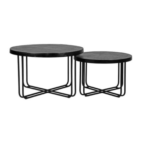 LABEL51 Brute salontafel metaal zwart set van 2