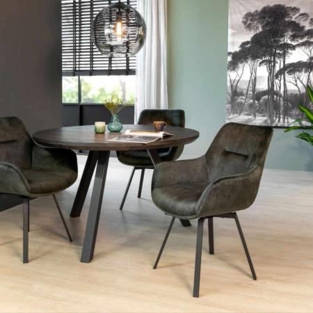 ZES10 Collectie Deluxe eetkamerstoel draaibaar velvet groen