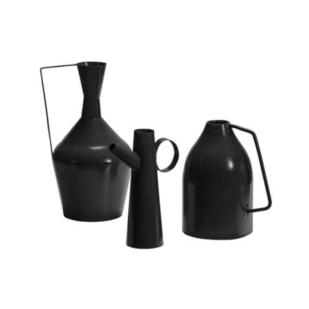 BePureHome Tins vazen metaal zwart set van 3