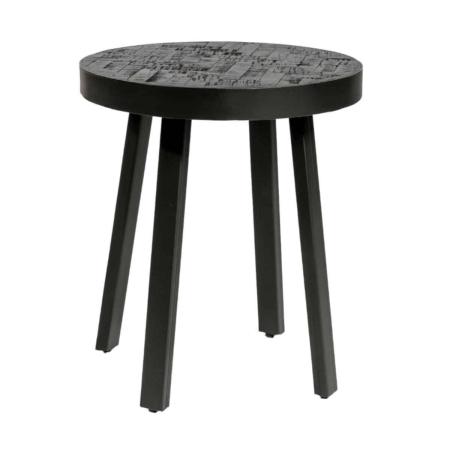 ZES10 Collectie Trendy bijzettafel teak zwart rond Ø45cm