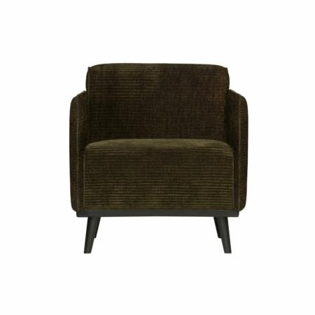 BePureHome Statement fauteuil met arm platte brede rib warm groen