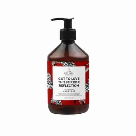 The Gift Label Hand Soap Mirror reflection